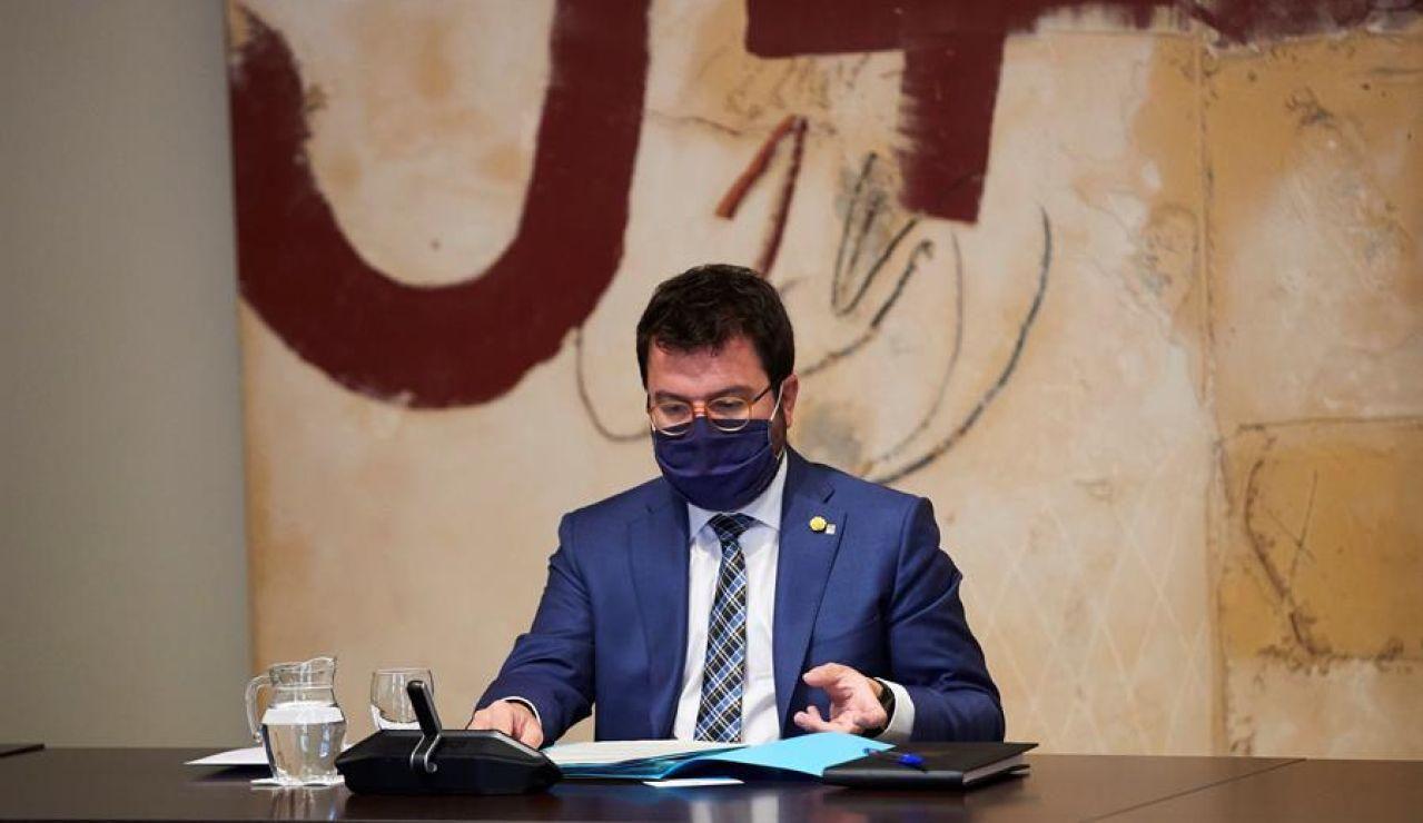 Pere Aragonés asume las funciones de president de la Generalitat con la silla vacía de Quim Torra