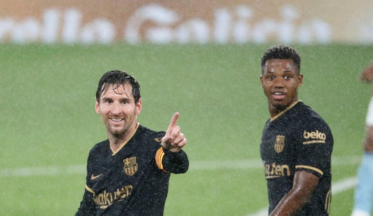 Leo Messi y Ansu Fati, en acción en Balaídos
