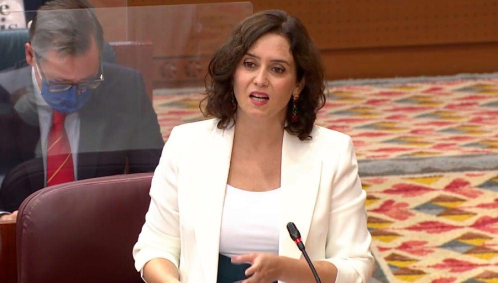 La presidenta de la Comunidad de Madrid, ,Isabel Diaz Ayuso, durante su intervención en la asamblea de Madrid