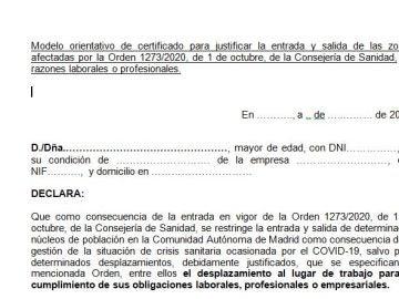 Justificante de movilidad covid Madrid: Descargar el salvoconducto para desplazarte por motivos laborales