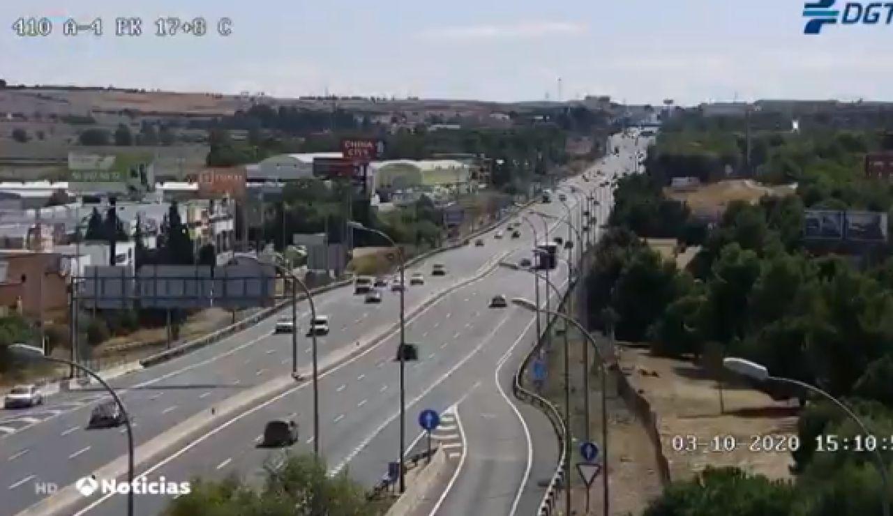 Tranquilidad en las carreteras con controles aleatorios en el primer día con restricciones en Madrid