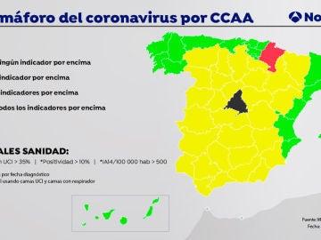 El semáforo del coronavirus por Comunidades Autónomas.