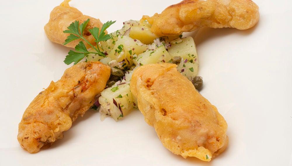 Receta de pollo a la gabardina con patatas aliñadas