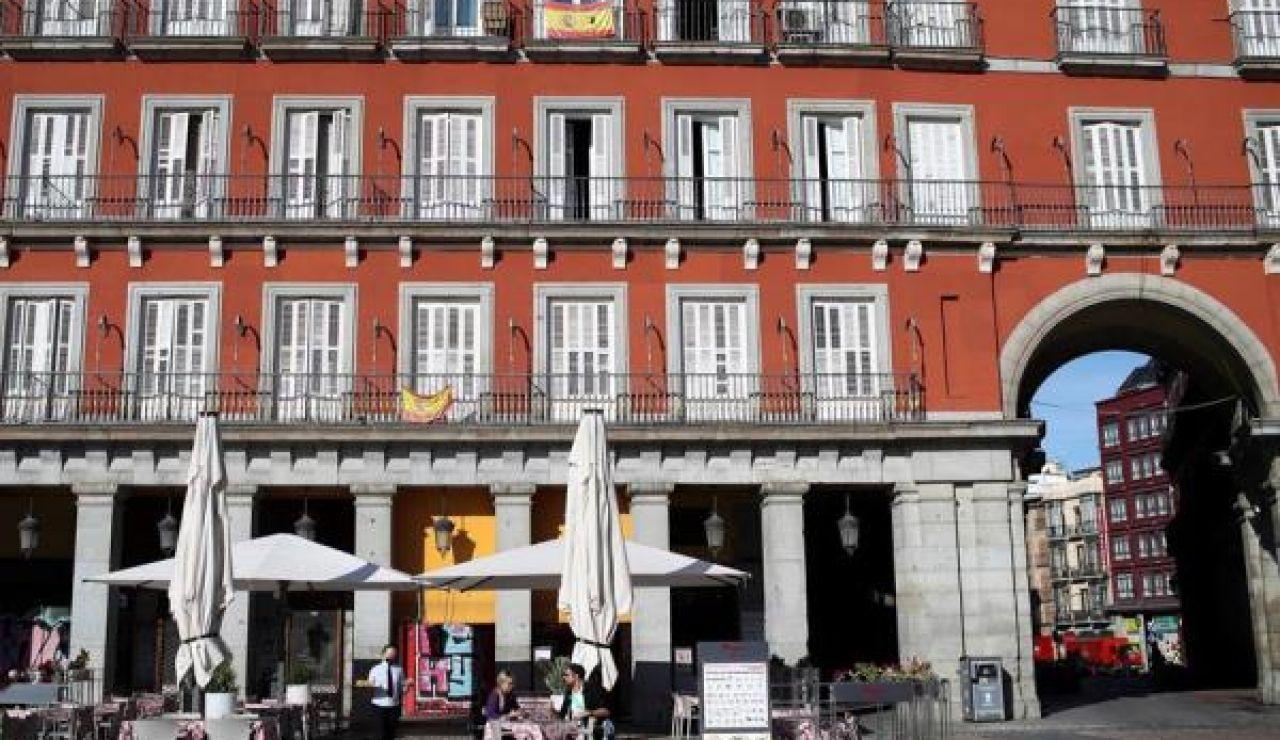 Imagen de una terraza en la Puerta del Sol