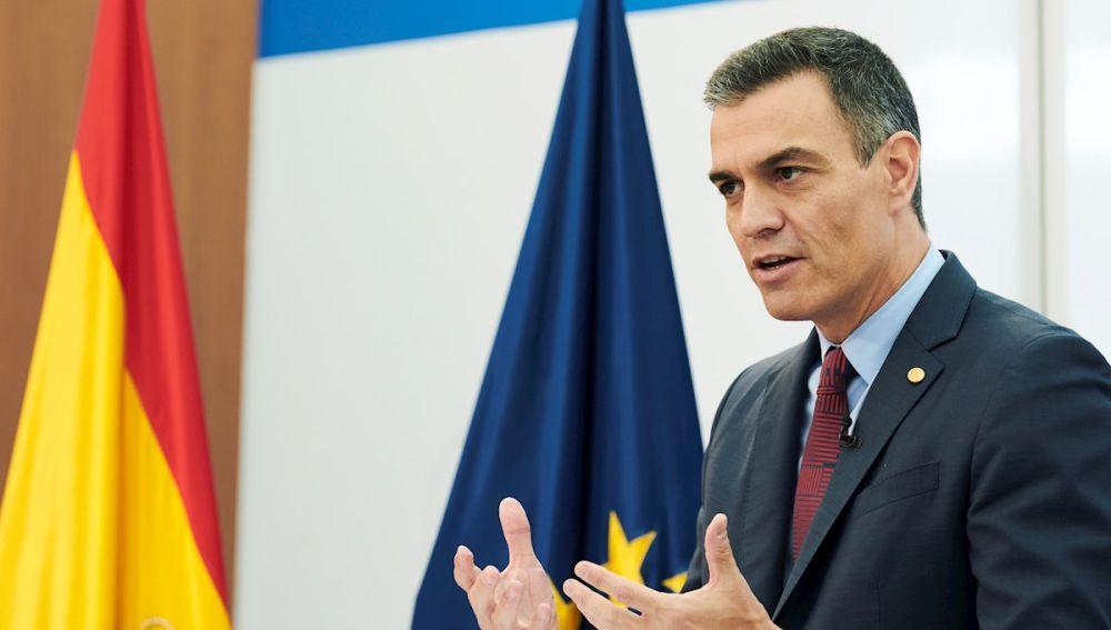 El presidente del Gobierno, Pedro Sánchez, durante una rueda de prensa
