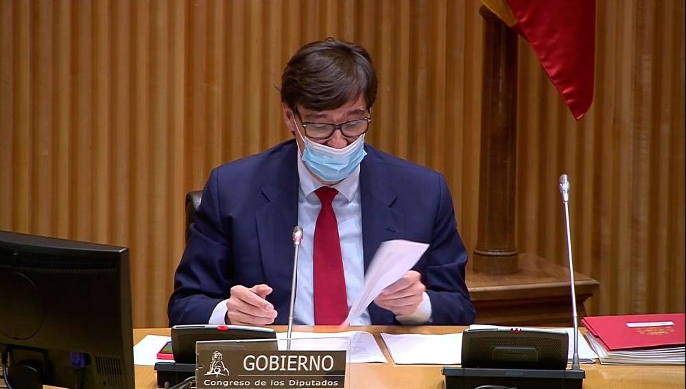 Salvador Illa durante su comparecencia en el Congreso