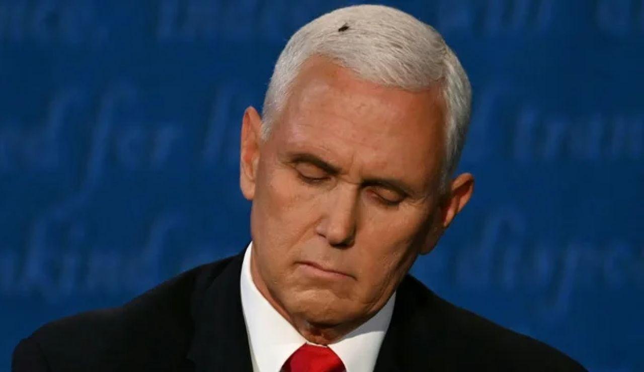 Momento en que la mosca se posa sobre la cabeza de Mike Pence