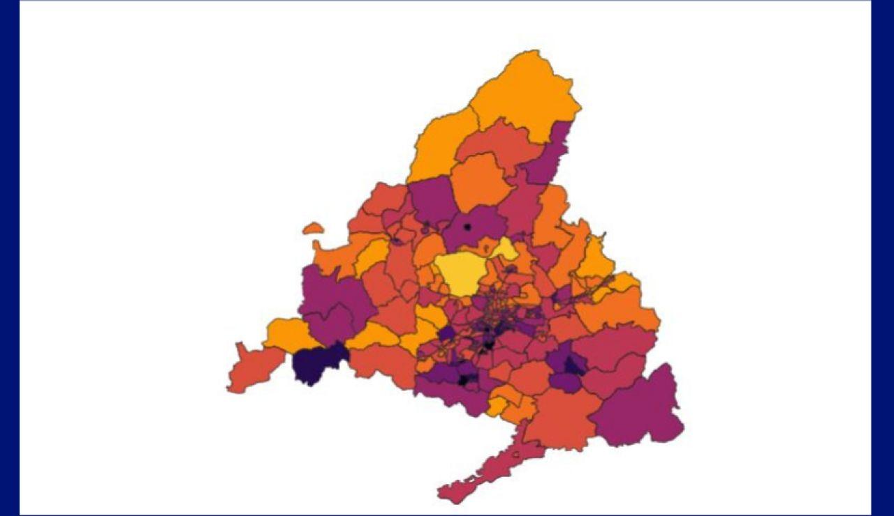 Mapa incidencia coronavirus Madrid