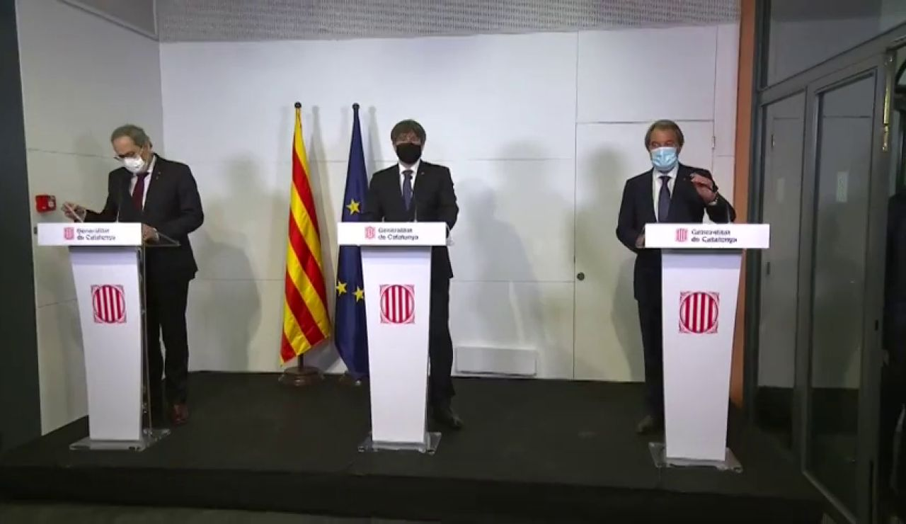 """Artur Mas, Carles Puigdemont y Quim Torra denuncian una """"España de la represión"""" desde Francia"""