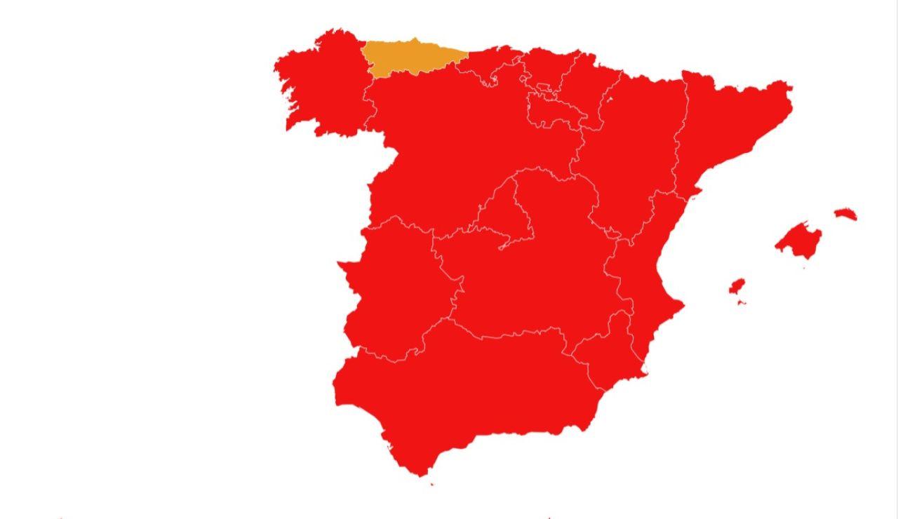Gráfico de España aplicando el semáforo europeo