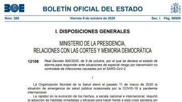 BOE del 9 de octubre de 2020 con el decreto de estado de alarma en Madrid