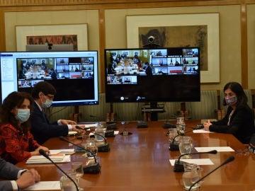 El ministro de Sanidad, Salvador Illa, y la ministra de Política Territorial, Carolina Darias, en la reunión del Consejo Interterritorial de Salud