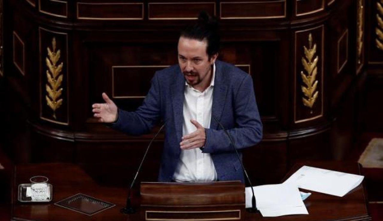 Pablo Iglesias durante la moción de censura de Vox al Gobierno