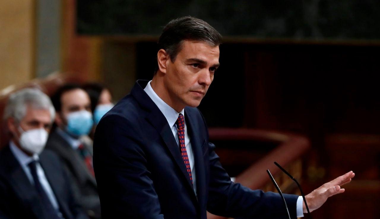 Pedro Sánchez durante su intervención en el Congreso de los Diputados