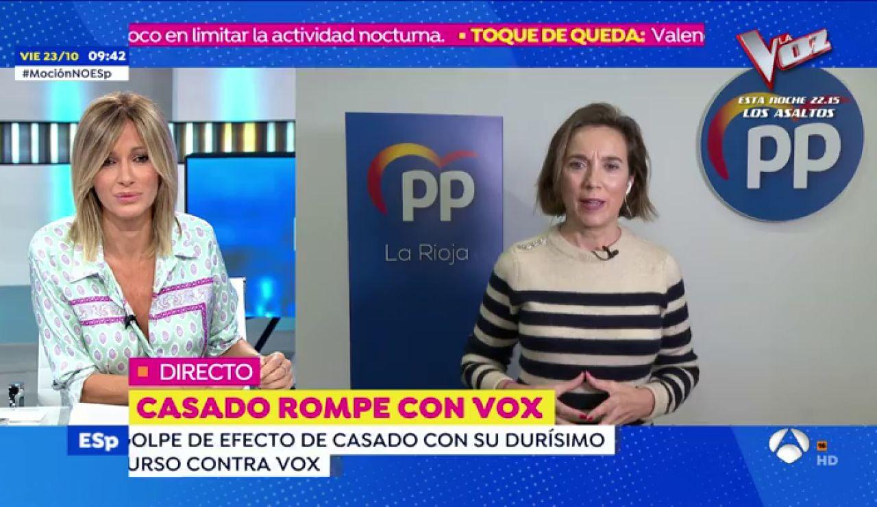 """Cuca Gamarra niega que el 'no' de Pablo Casado a la moción fuera fruto de un 'calentón': """"Fue por convicción"""""""