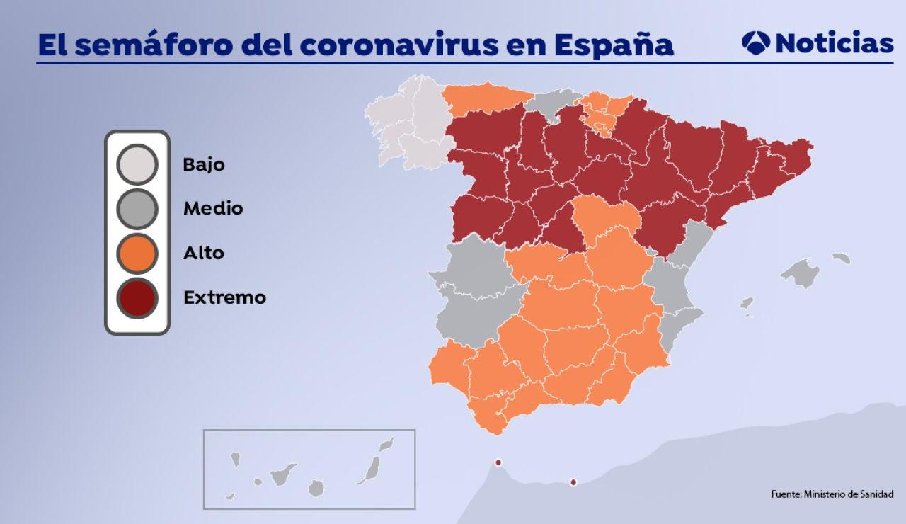 Semáforo del coronavirus: estos son los niveles de alerta en cada comunidad autónoma según lo nuevos criterios de Sanidad