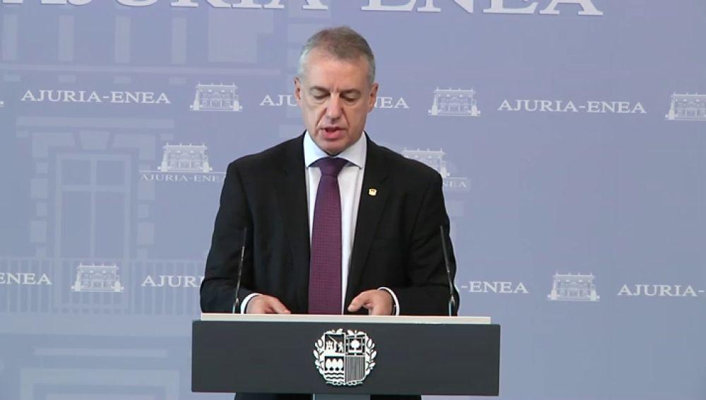 El lehendakari Íñigo Urkullu pide a Pedro Sánchez que declare el estado de alarma en el País Vasco
