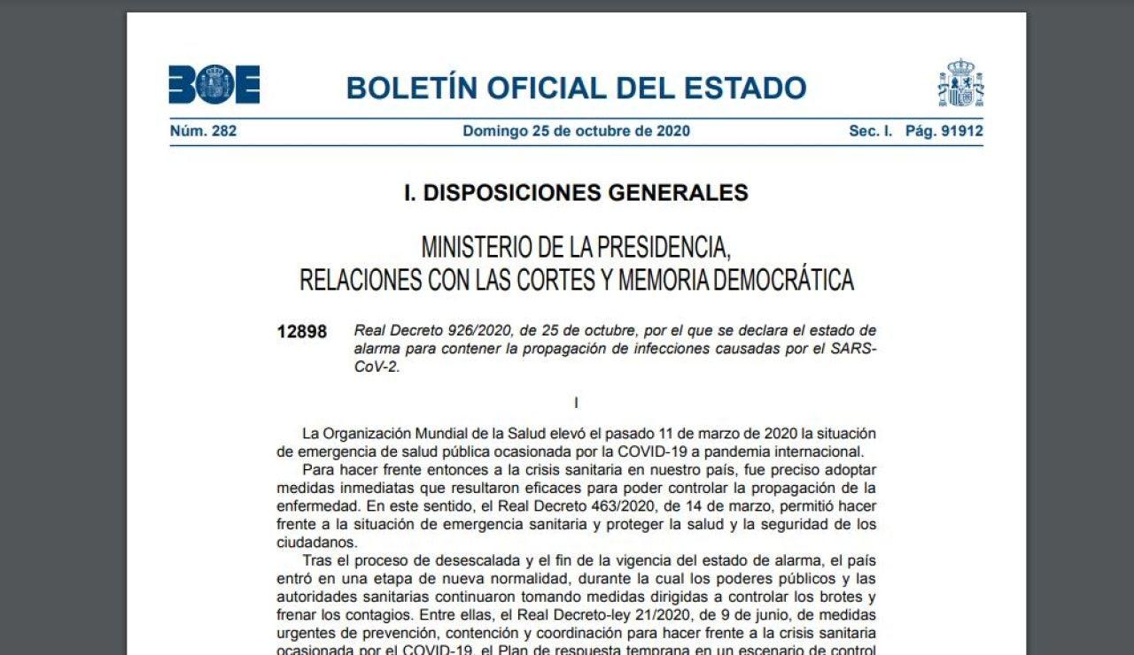 BOE de hoy 25 de octubre sobre el decreto del estado de alarma en España en PDF