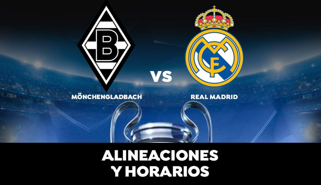 Borussia Mönchengladbach - Real Madrid: Horario, alineaciones y dónde ver el partido de la Champions League en directo