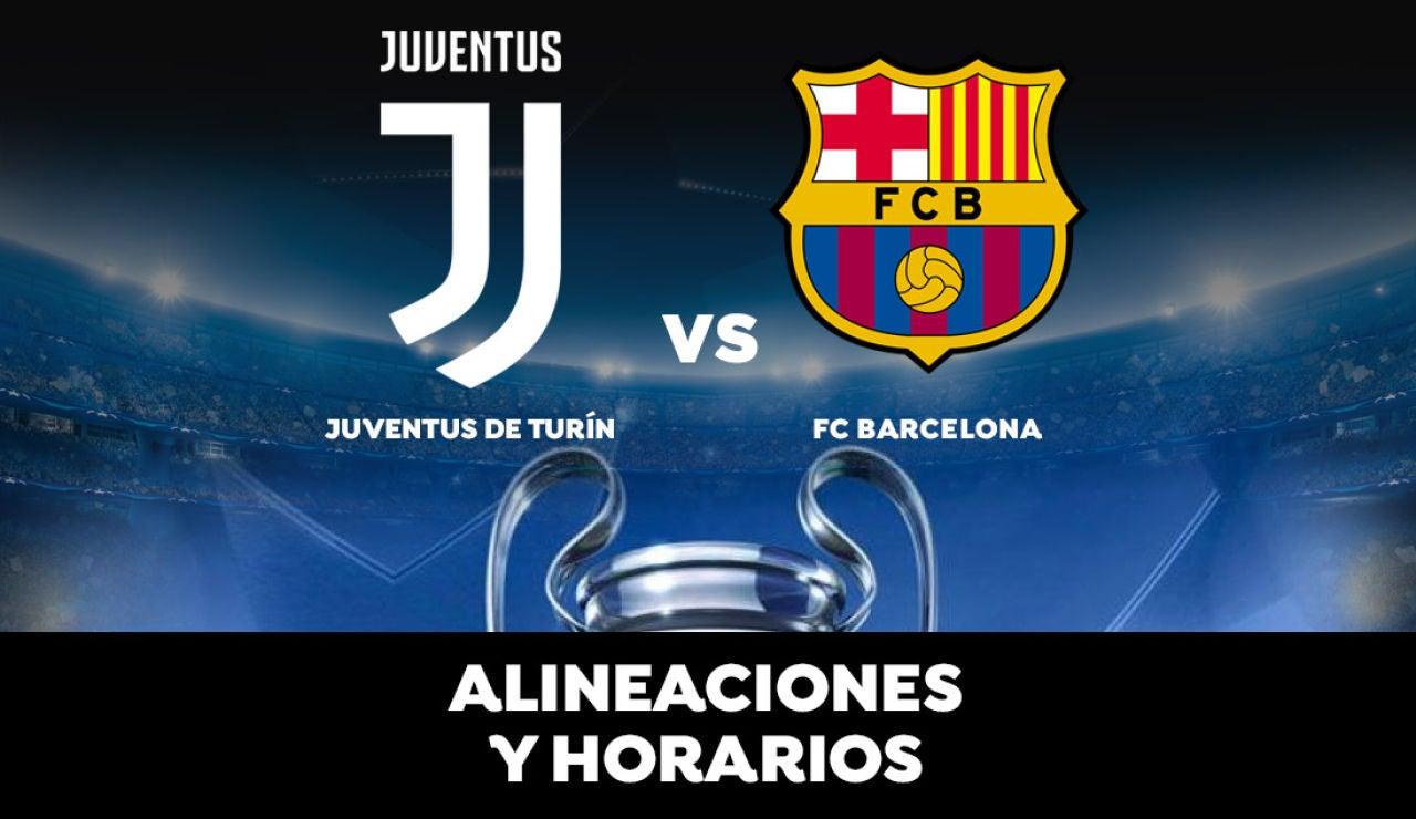 Juventus de Turín - Barcelona: Horario, alineaciones y dónde ver el partido de la Champions League en directo