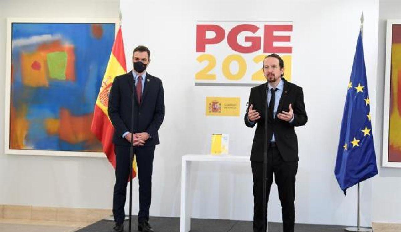 Pedro Sánchez y Pablo Iglesias durante la presentación del proyecto de Presupuestos Generales del Estado 2021