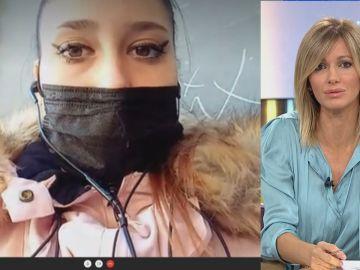 Enfrentamiento entre Susanna Griso y la joven antimascarillas.
