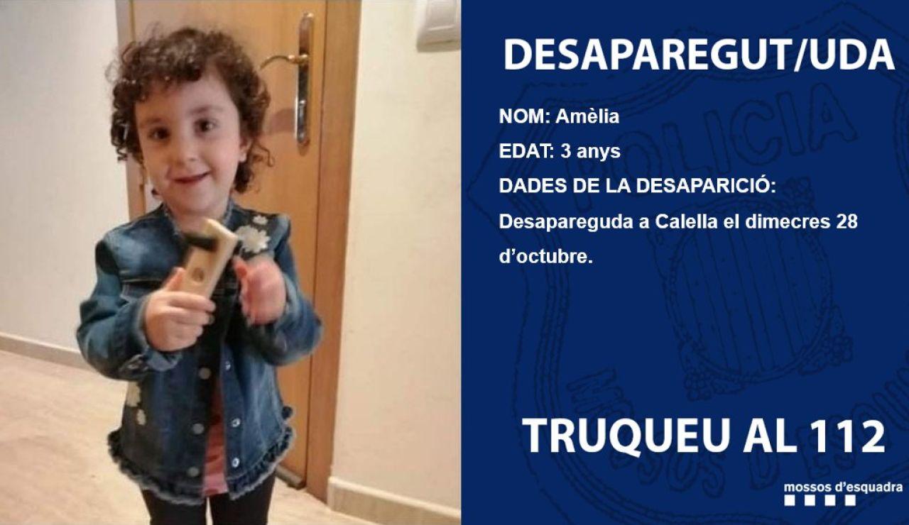 Amelia, niña desaparecida en Calella, Barcelona
