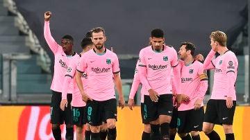 Dembelé celebra su gol en el Juventus Stadium