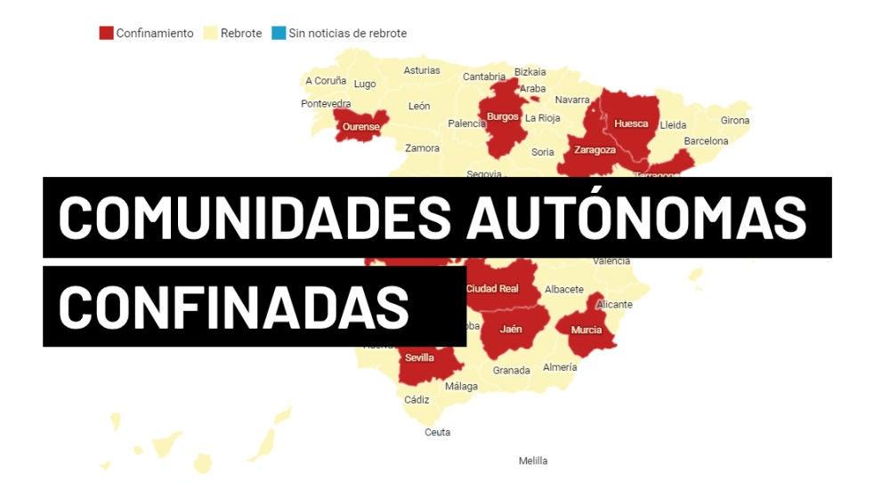 Mapa de comunidades autónomas confinadas y con cierres perimetrales en España