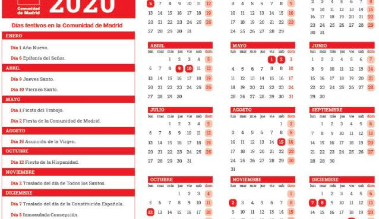 Calendario laboral en Madrid 2020