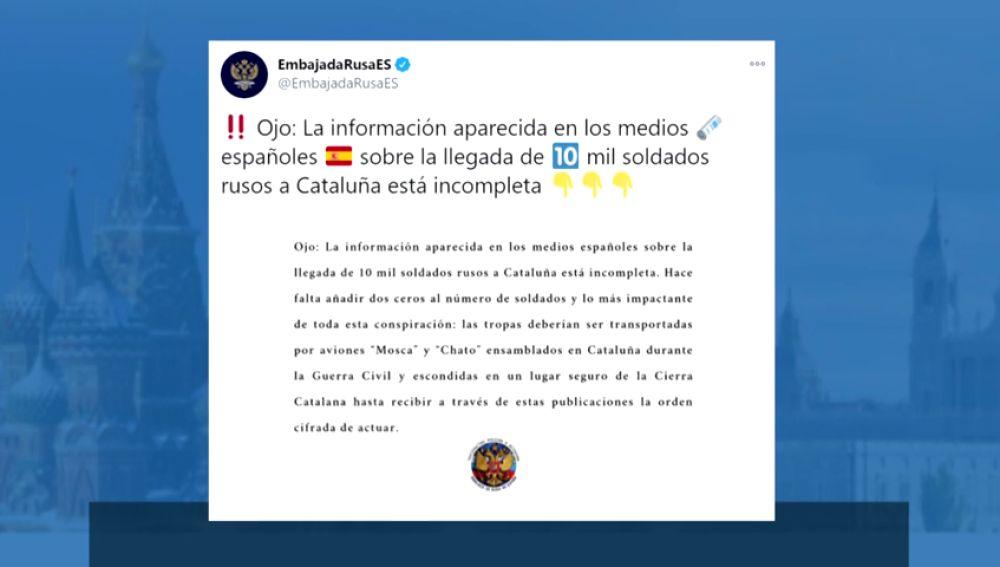 La embajada rusa ironiza sobre su apoyo a los independentistas catalanes diciendo que serían muchos más soldados