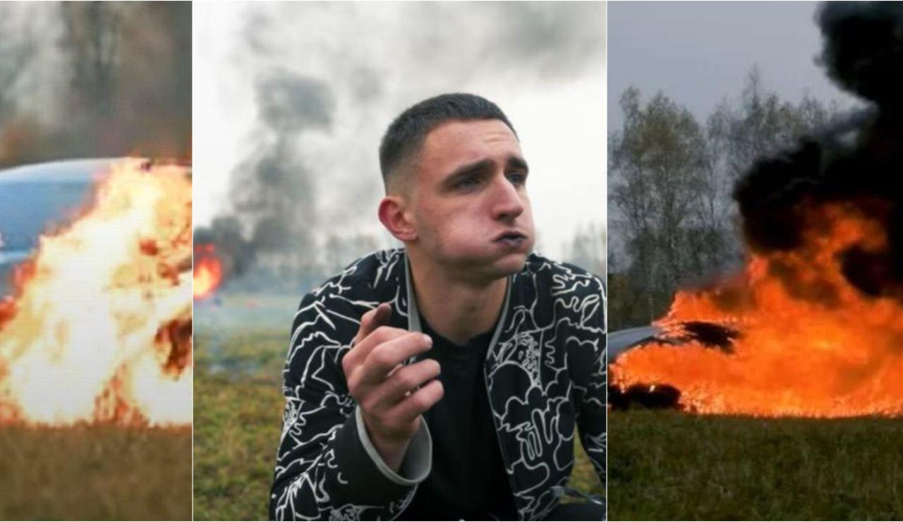 Mijaíl Litvin quemando su Mercedes