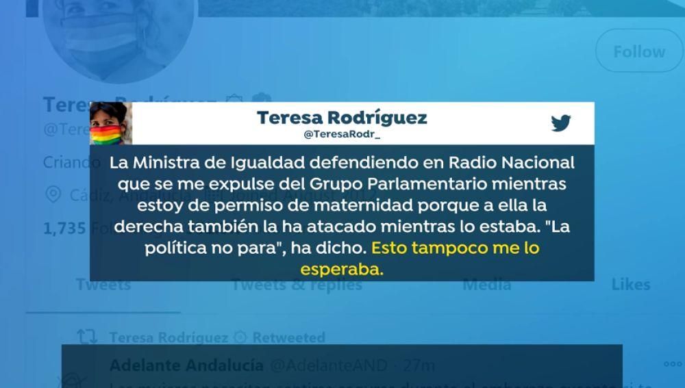 Irene Montero y Teresa Rodríguez se enzarzan por la expulsión de la andaluza del grupo parlamentario en su baja maternal
