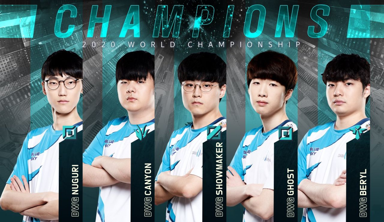 Los integrantes del DAMWON Gaming, campeones de LoL