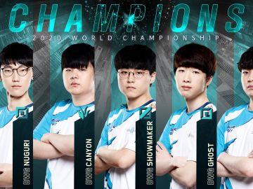 Los integrantes del DAMWON Gaming, campeones de LoL