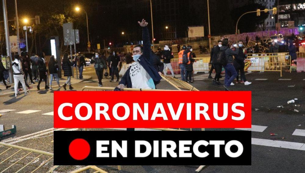 Coronavirus en España: Última hora de los disturbios contra el estado de alarma, los cierres perimetrales y el toque de queda