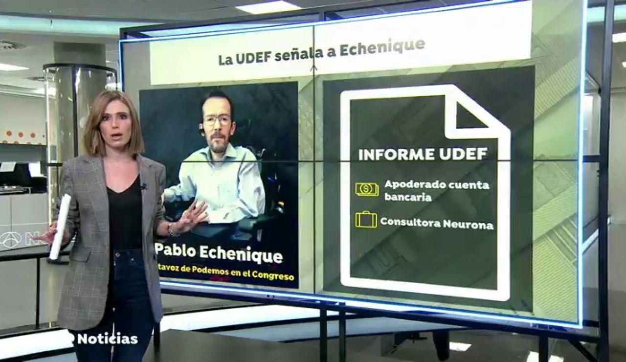 Un informe de la UDEF señala a Echenique como apoderado de una cuenta desde las que Podemos pagó a Neurona