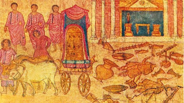 El robo del arca por los filisteos. Museo Nacional de Damasco.