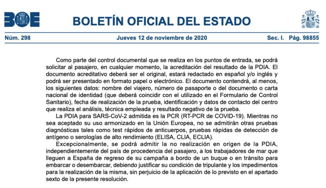BOE de hoy 12 de noviembre con la lista de países a los que España exige una prueba PCR en PDF