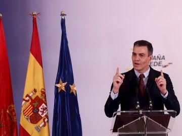 Pedro Sánchez durante su comparecencia en Navarra