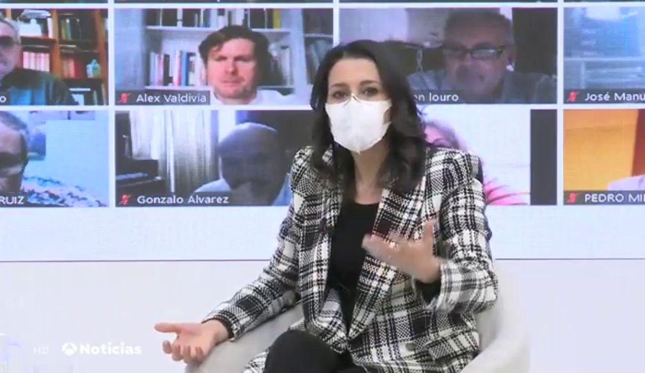 """Inés Arrimadas insiste en la """"mano tendida"""" al Gobierno para pactar los presupuestos de 2021"""