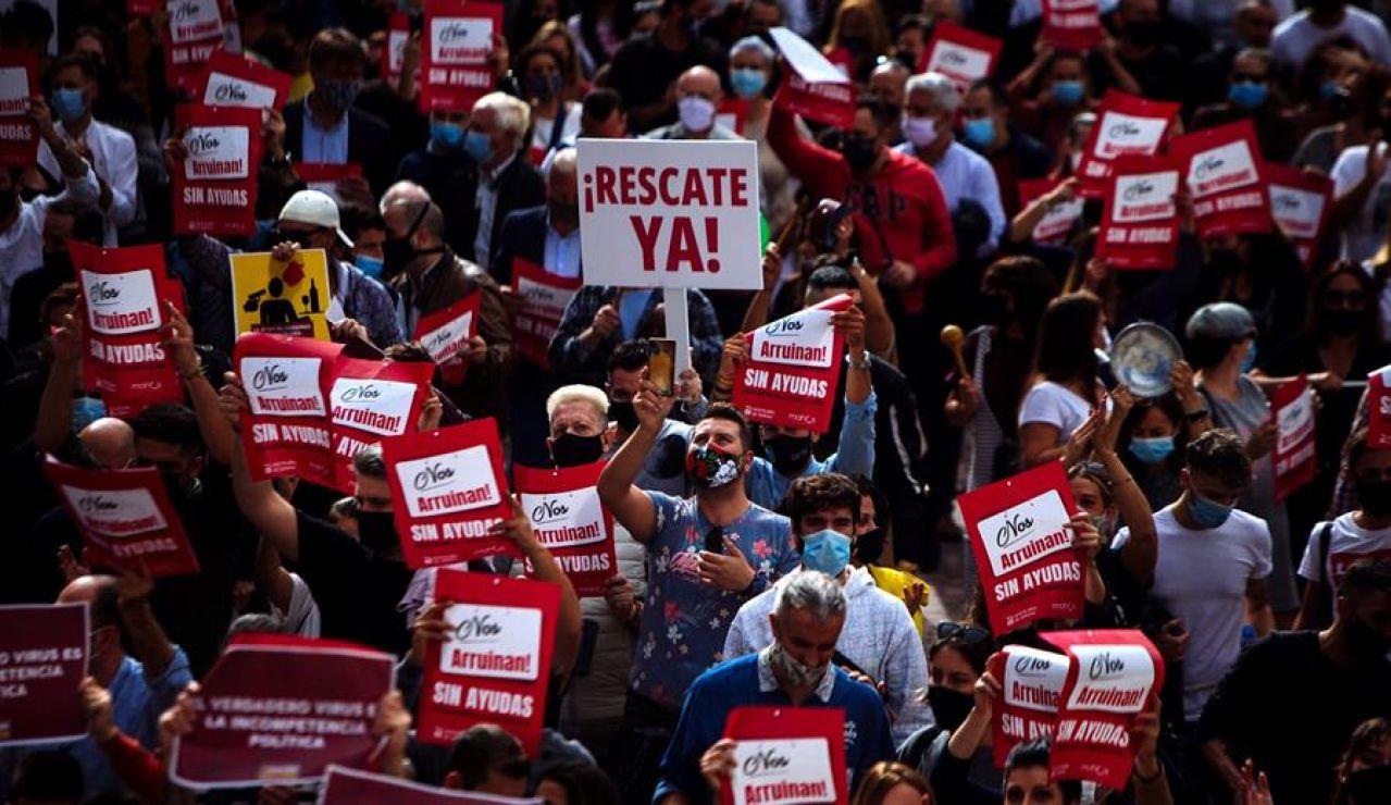 Protestas de los hosteleros en Málaga.