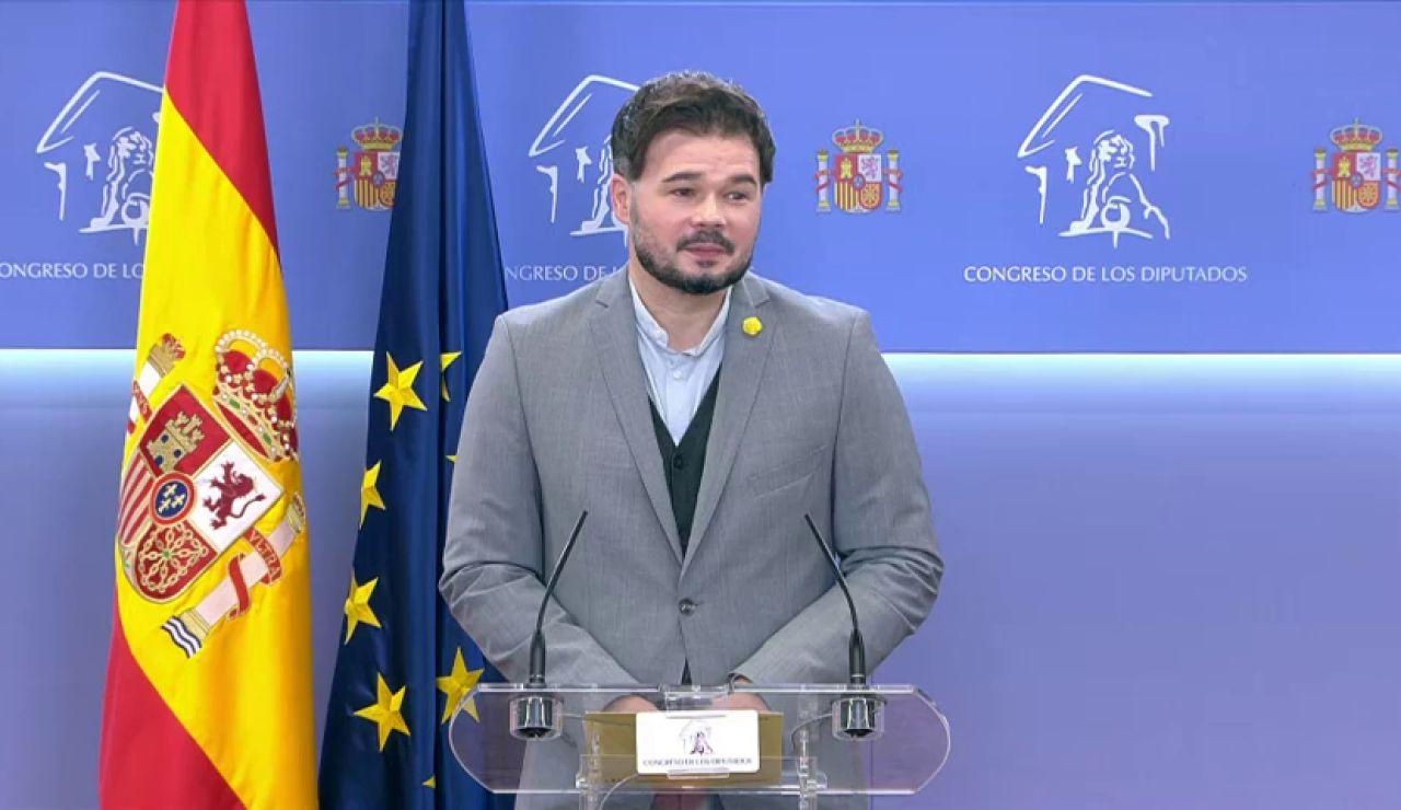 """Gabriel Rufián defiende que Bildu no es ETA y da por hecho el pacto con el Gobierno: """" eso en mi pueblo se llama estar a punto"""""""