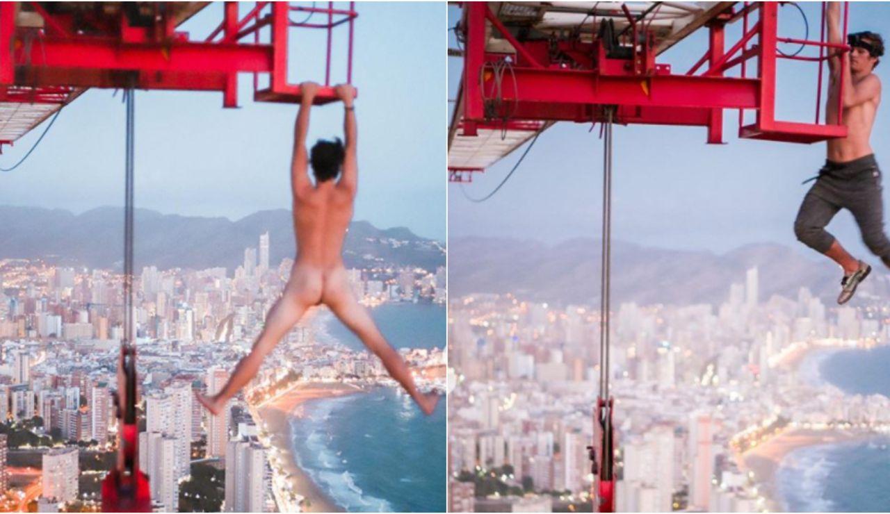 El 'idiota profesional' se juega la vida para hacerse una foto desnudo colgado de una grúa a 200 metros de altura