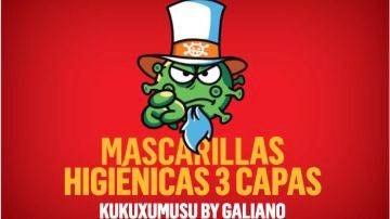 Imagen de promoción de las mascarillas de Kukuxumusu y Galiano
