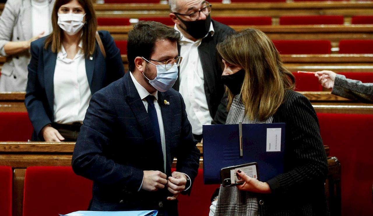 El presidente en funciones de la Generalitat, Pere Aragonés, y la portavoz, Meritxell Budó