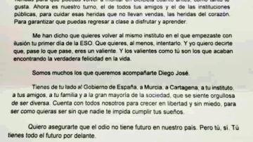 Carta de Pedro Sánchez a Diego