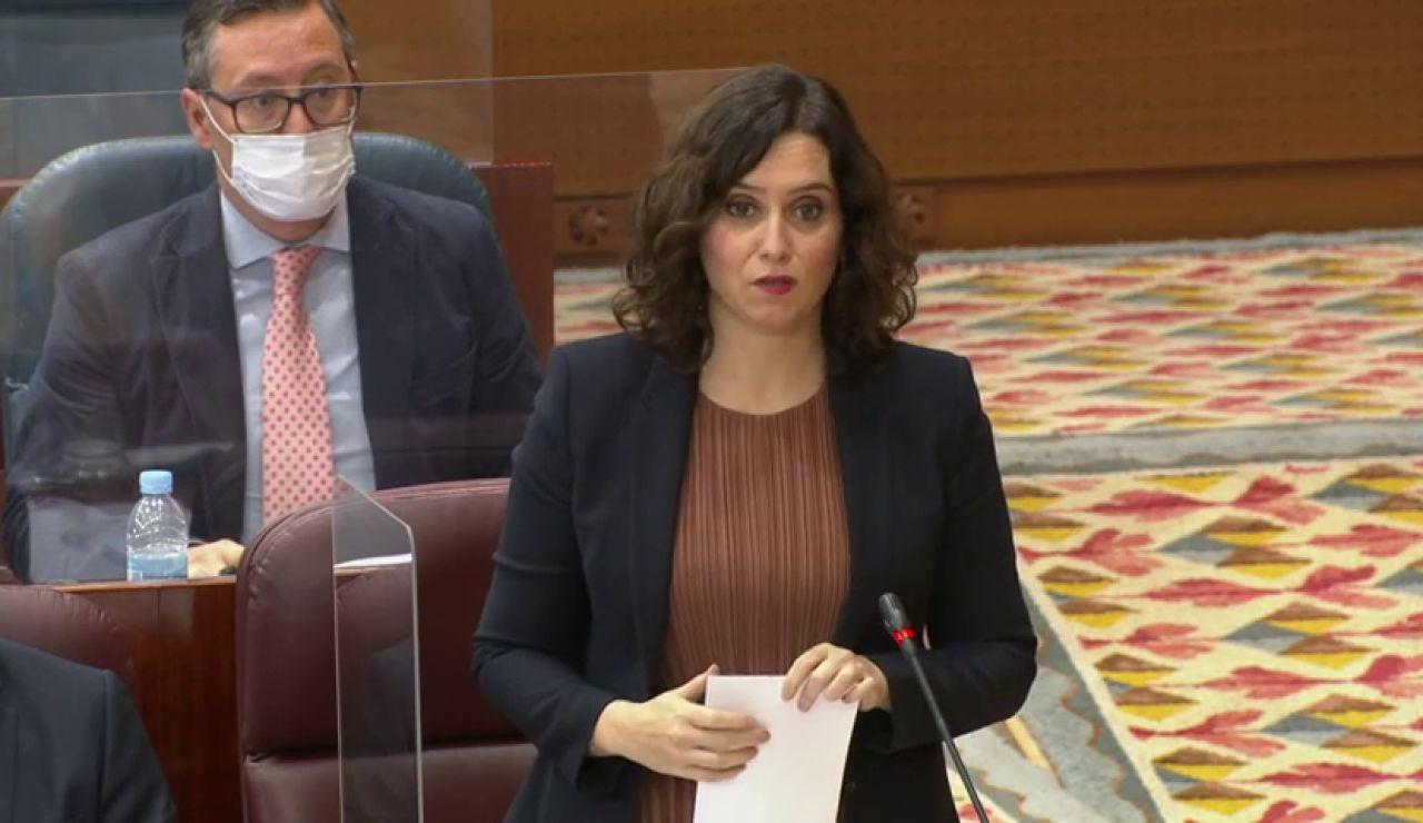 """Ayuso se compromete a rebajar medio punto el tramo del IRPF autonómico: """"Madrid es un paraíso de libertad, no fiscal"""""""