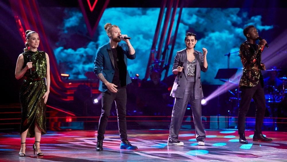Curricé, Paula Espinosa, Kelly y Johanna Polvillo cantan 'Viva la vida' en La Final de 'La Voz'