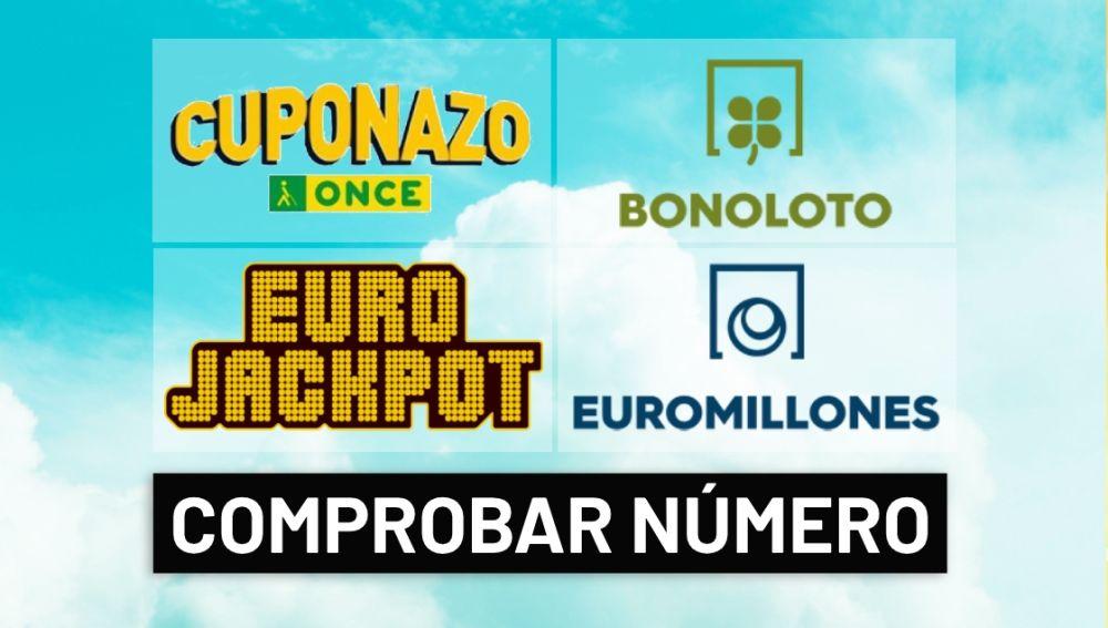Comprobar resultado del sorteo del Cuponazo ONCE, Euromillones, Eurojackpot y Bonoloto hoy en directo